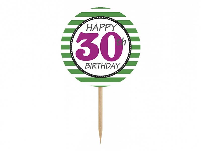 PartyDeco Ozdoby na cupcakes - 30. narodeniny 6 ks