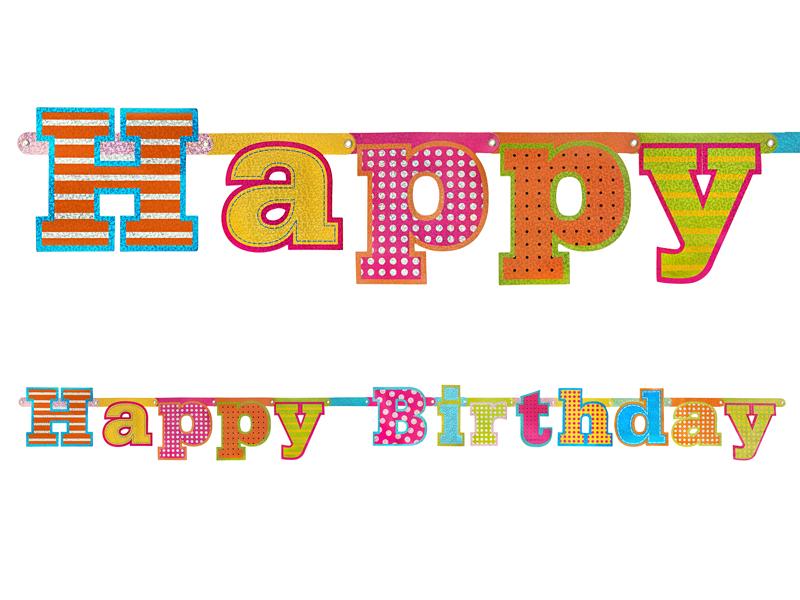 PartyDeco Narodeninový transparent Happy Birthday 1;66 m