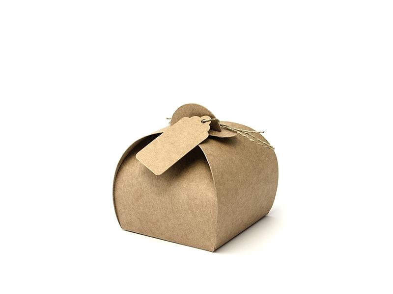 PartyDeco Darčeková krabička so štíktom - hnedá