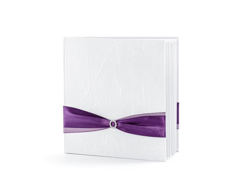 PartyDeco Kniha hostí s fialovou stuhou