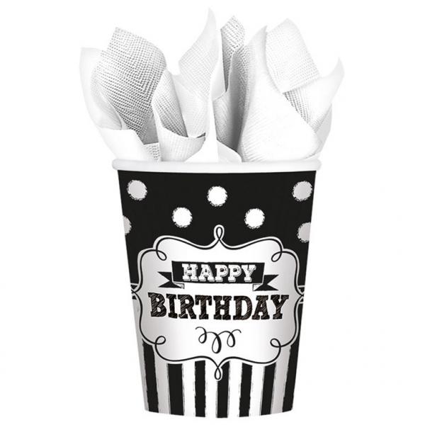 Amscan Poháre Čierno - biele narodeniny 8 ks