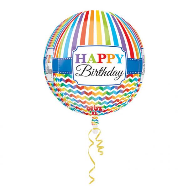 Amscan Fóliový balón Farebné narodeniny - okruhlý 38 x 40 cm