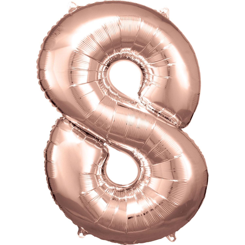 Amscan Balónik fóliový narodeninové číslo 8 ružovo-zlatý 86 cm