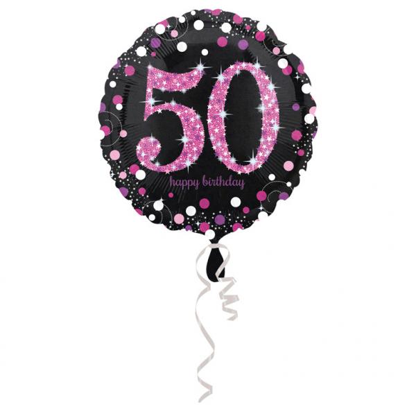 Amscan Fóliový balón 50 trblietavá ružová