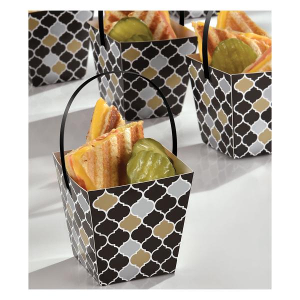 Amscan Papierové košíky s rúčkou - elegant 24 ks