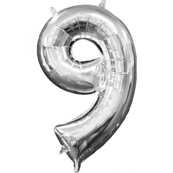 Amscan Mini fóliový balón číslo 9 strieborný 33 cm