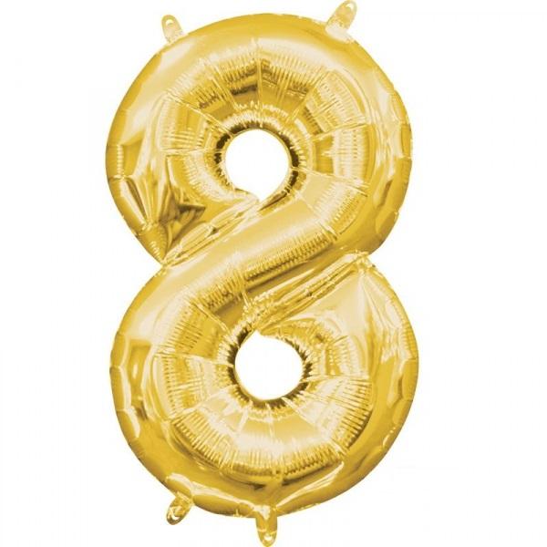 Amscan Mini fóliový balón číslo 8 zlatý 33 cm