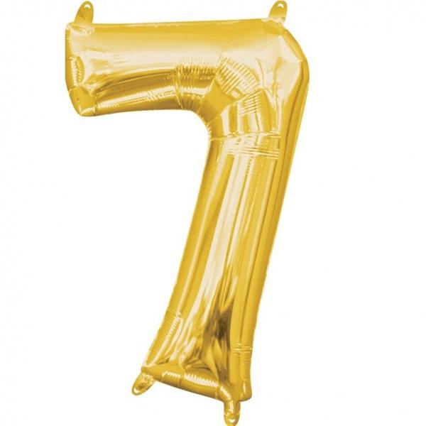 Amscan Mini fóliový balón číslo 7 zlatý 33 cm