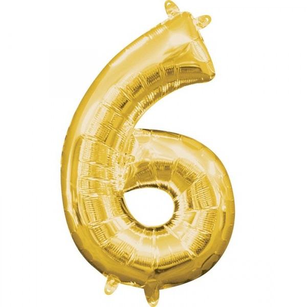 Amscan Mini fóliový balón číslo 6 zlatý 33 cm