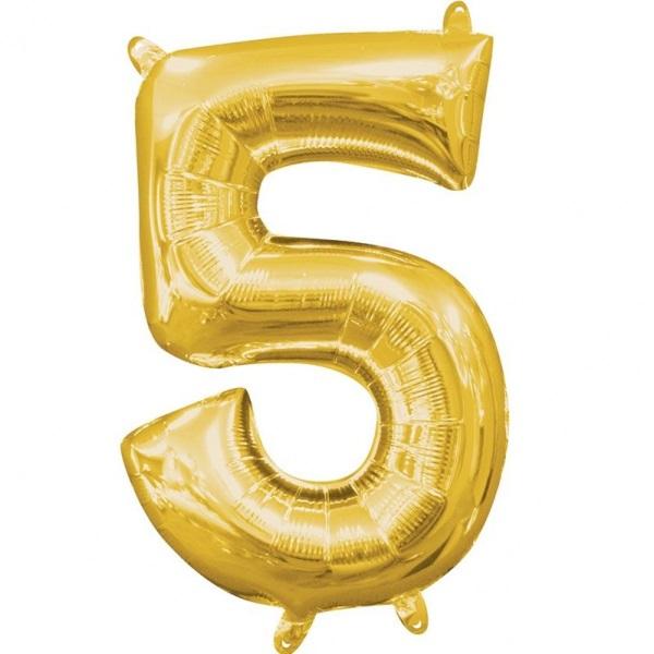 Amscan Mini fóliový balón číslo 5 zlatý 33 cm