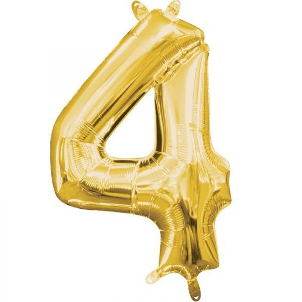 Amscan Mini fóliový balón číslo 4 zlatý 33 cm