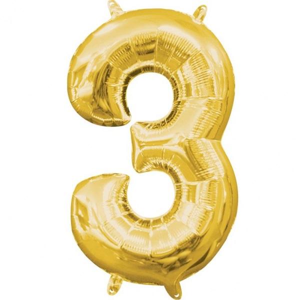Amscan Mini fóliový balón číslo 3 zlatý 33 cm