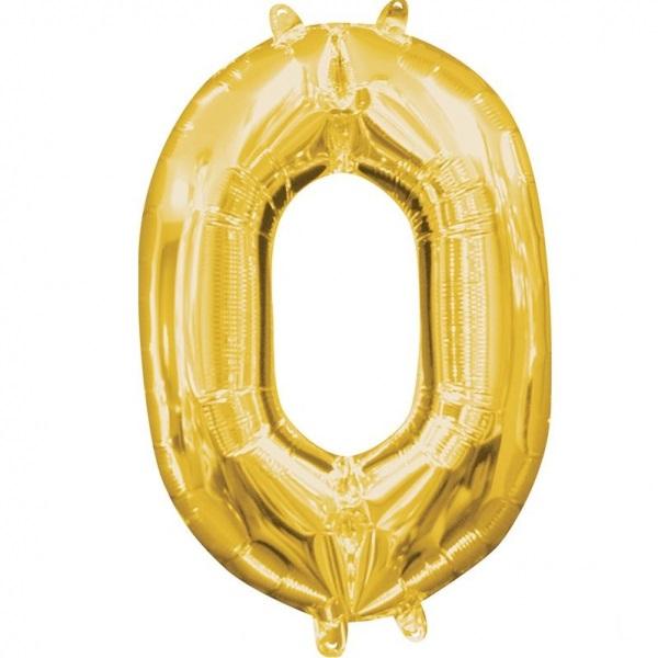 Amscan Mini fóliový balón číslo 0 zlatý 33 cm