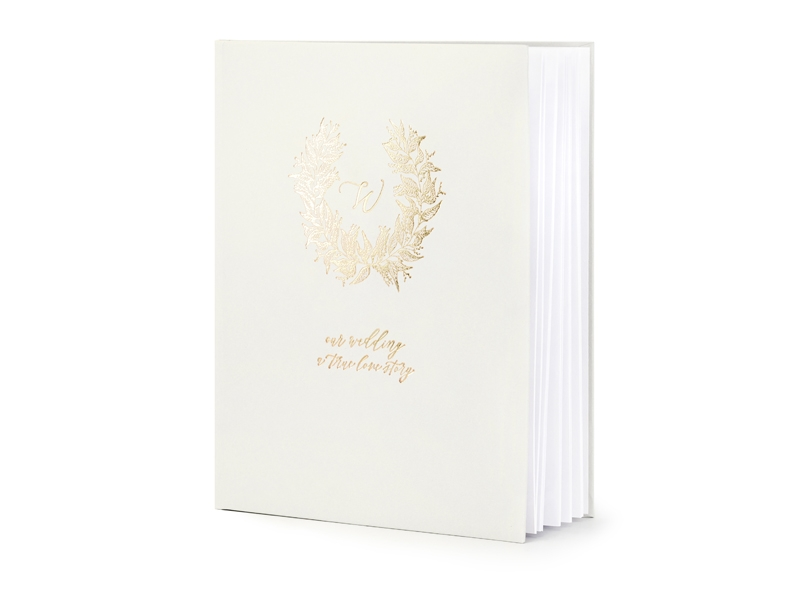 PartyDeco Kniha Hostí krémova zlatá