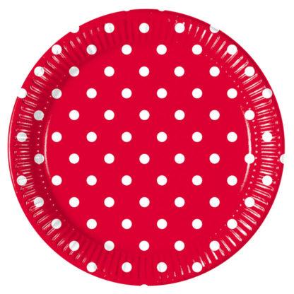 Procos Bodkované taniere - červené 10 ks