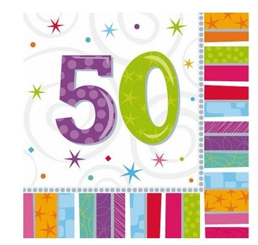 Amscan Servítky 50. narodeniny 33 x 33 cm 16 ks