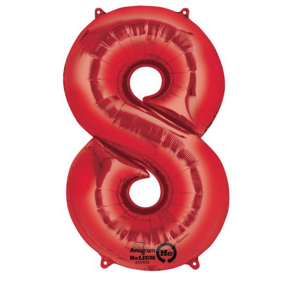 Amscan Balónik fóliový narodeninové číslo 8 červený 86 cm