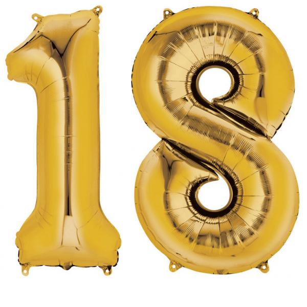 Amscan Fóliový balón v tvare čísla 18 zlatý