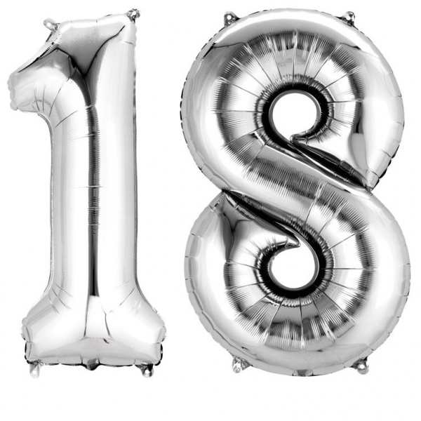 Amscan Fóliový balón v tvare čísla 18 strieborný