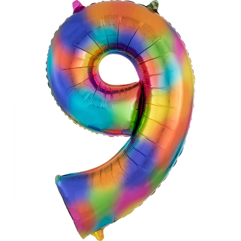 Amscan Balónik fóliový narodeninové číslo 9 dúhový 86 cm