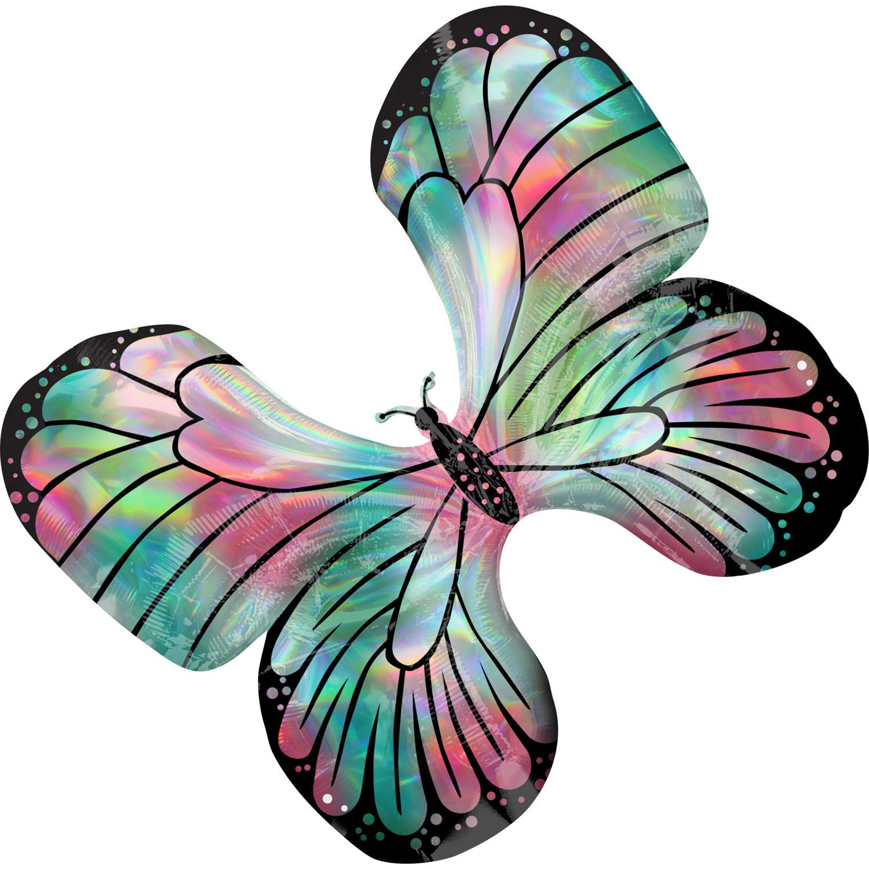 Amscan Fóliový balón holografický motýľ 76 x 66 cm