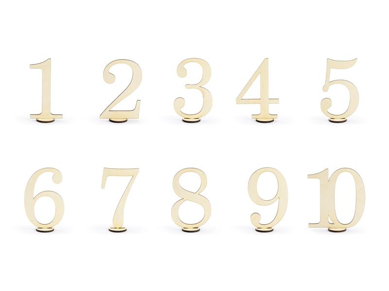 PartyDeco Drevené čísla na stôl 10 ks