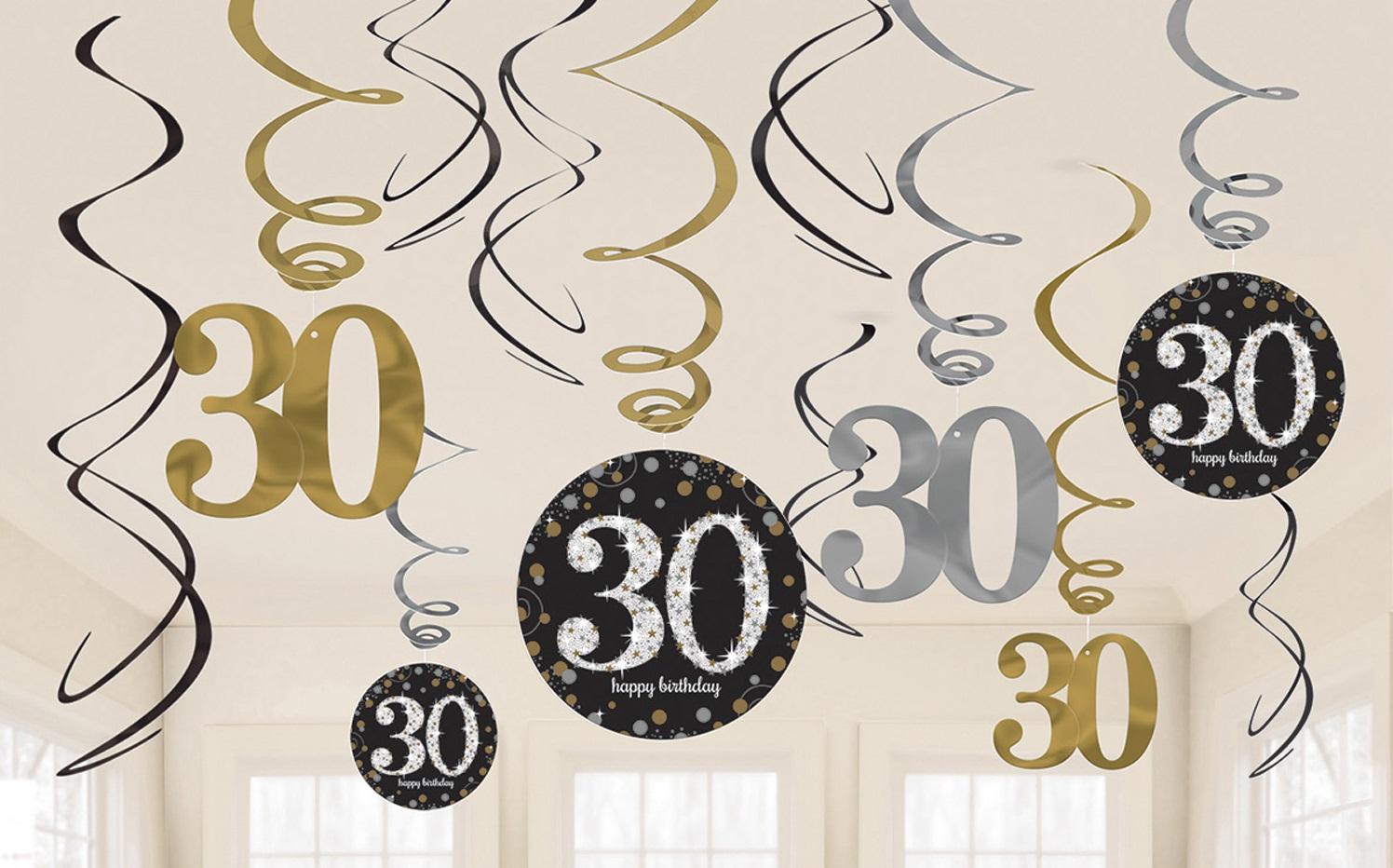 Amscan Dekorácia Víry 30. narodeniny - Trblietavá zlatá
