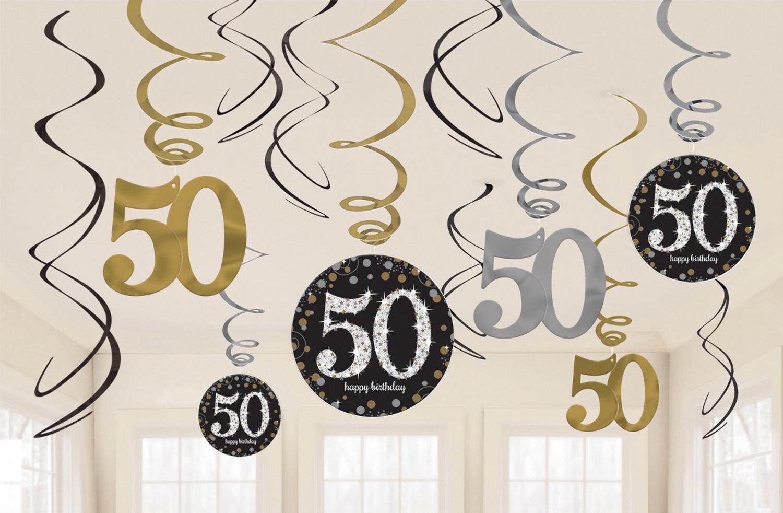 Amscan Dekorácia Víry 50. narodeniny - Trblietavá zlatá