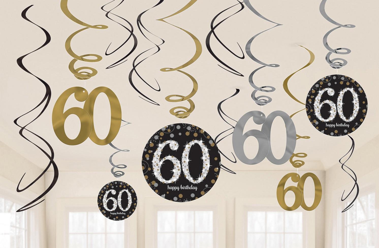 Amscan Dekorácia Víry 60. narodeniny - Trblietavá zlatá