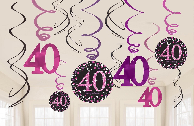Amscan Dekorácia Víry 40. narodeniny - Trblietavá ružová