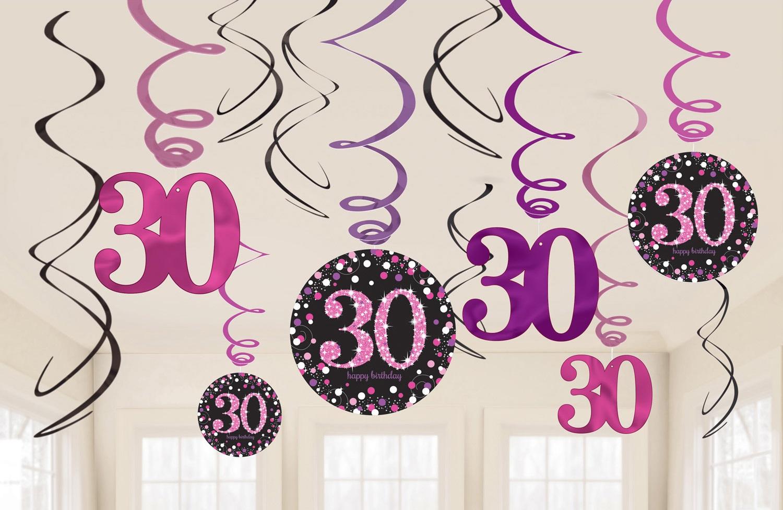 Amscan Dekorácia Víry 30. narodeniny - Trblietavá ružová