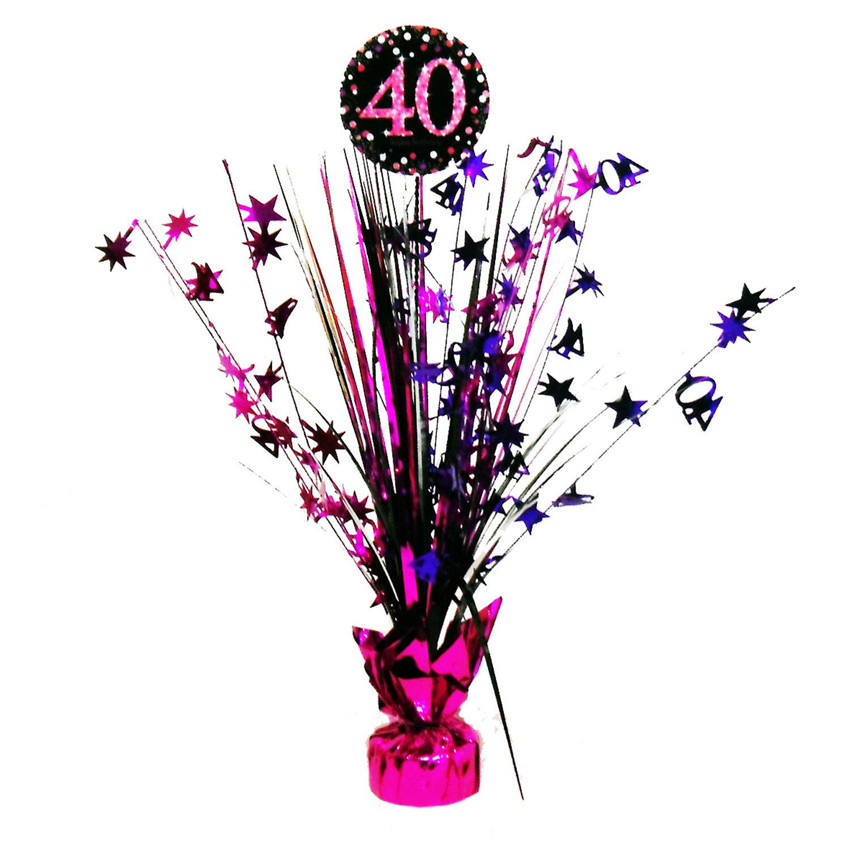 Amscan Dekorácia na oslavu - trblietavé 40. narodeniny (ružová)