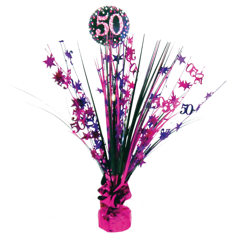 Amscan Dekorácia na oslavu - trblietavé 50. narodeniny (ružová)