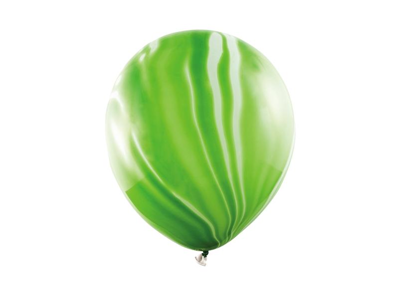 PartyDeco Mramorové balóny - zelené 6 ks