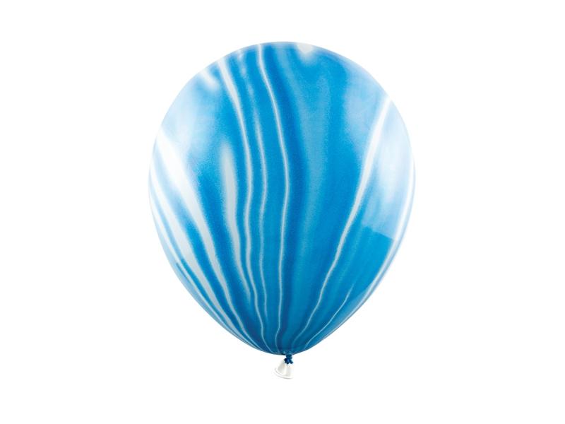 PartyDeco Mramorové balóny - modré 6 ks