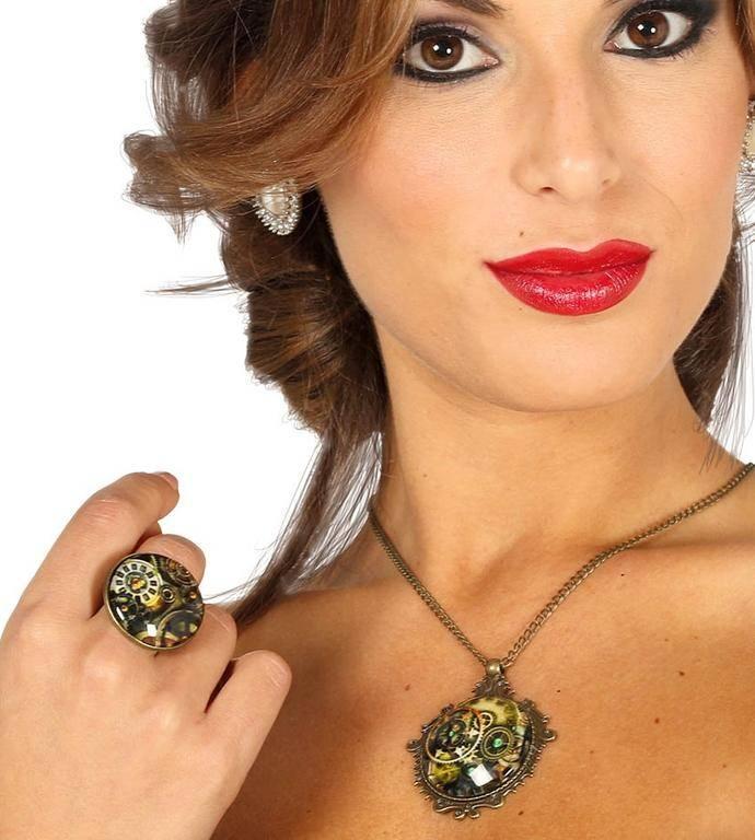 Guirca Set - náhrdelník a prsteň v štýle Steampunk