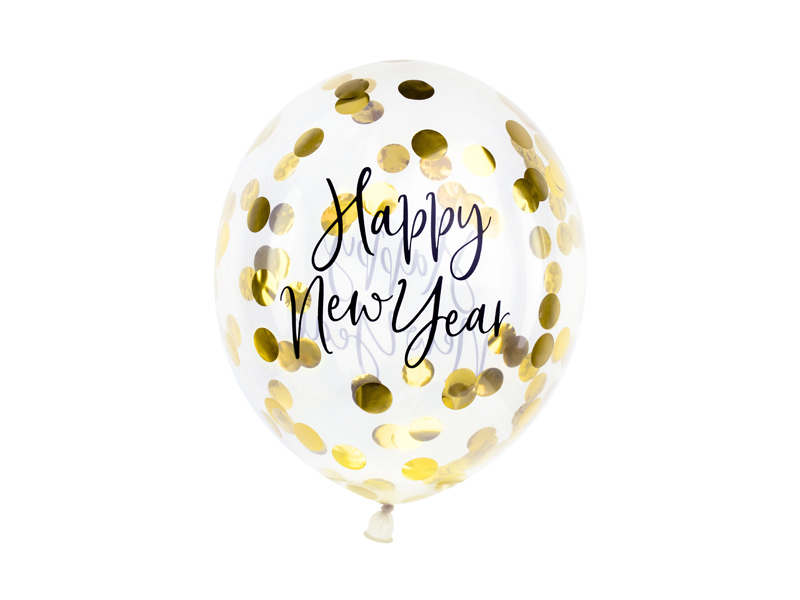 PartyDeco Konfetové balóny - Šťastný nový rok (zlaté)