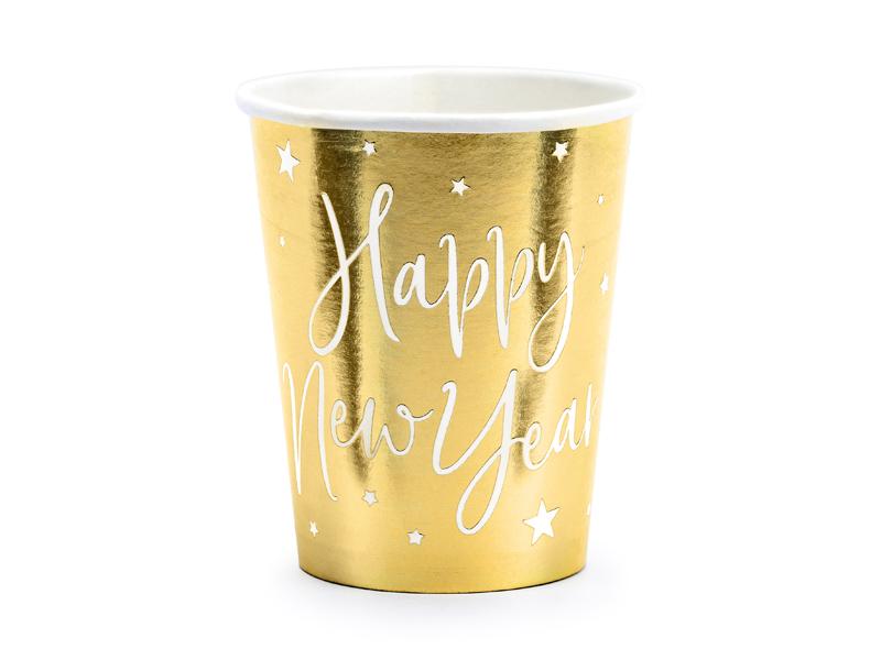 PartyDeco Papierové poháre - Šťastný nový rok