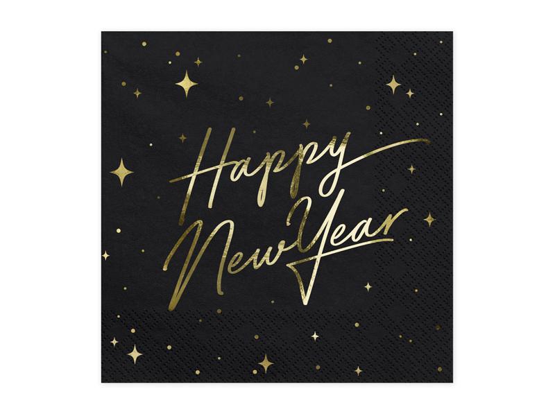 PartyDeco Servítky - Šťastný nový rok (čierne) 33 x 33 cm 20 ks