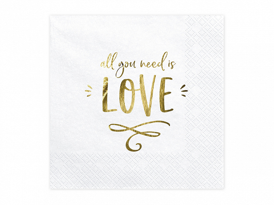 PartyDeco Servítky - All you need is love 33 x 33 cm