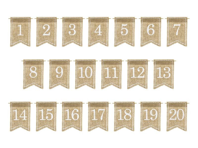 PartyDeco Dekorácia na stôl - číslovanie Juta 20 ks