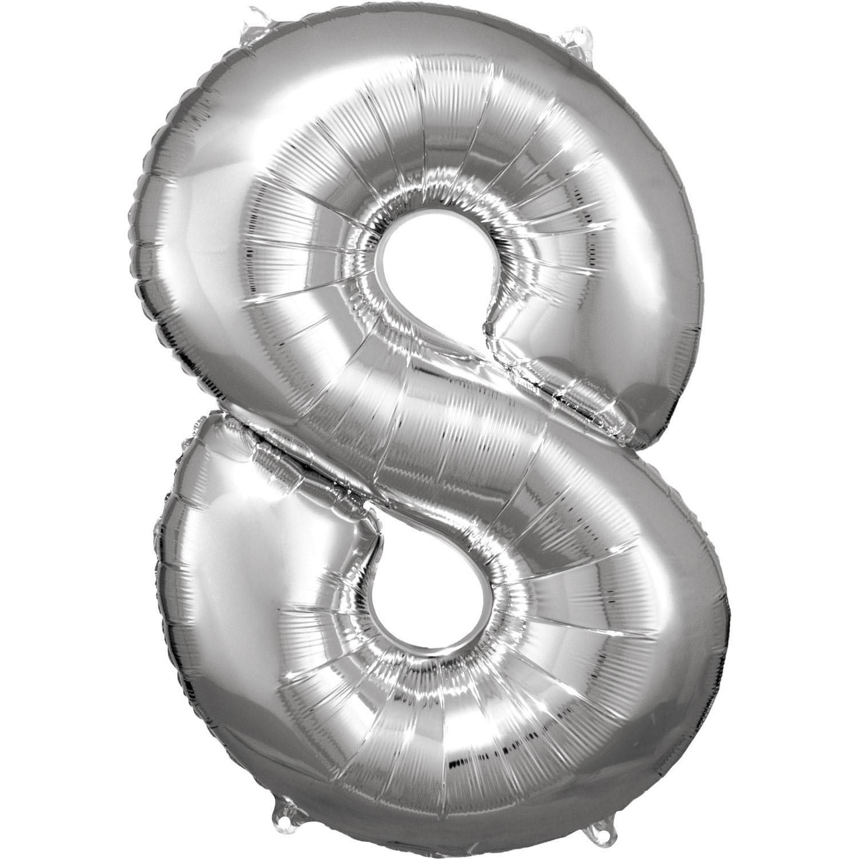 Amscan Balónik fóliový narodeninové číslo 8 strieborný 86 cm