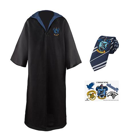Distrineo Sada plášť, kravata a 5 tetovaní Harry Potter - Bystrohlav Veľkosť - dospelý: L