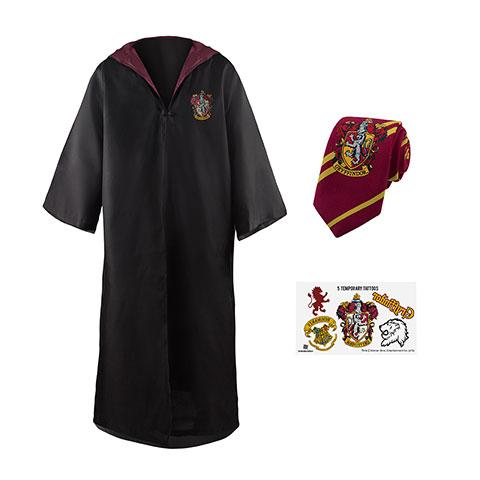Brandecision Sada plášť, kravata a 5 tetovaní Harry Potter - Chrabromil Veľkosť - dospelý: S