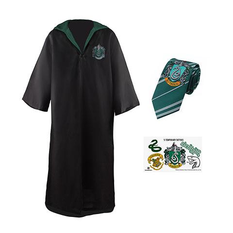 Brandecision Sada plášť, kravata a 5 tetovaní Harry Potter - Slizolin Veľkosť - dospelý: XS