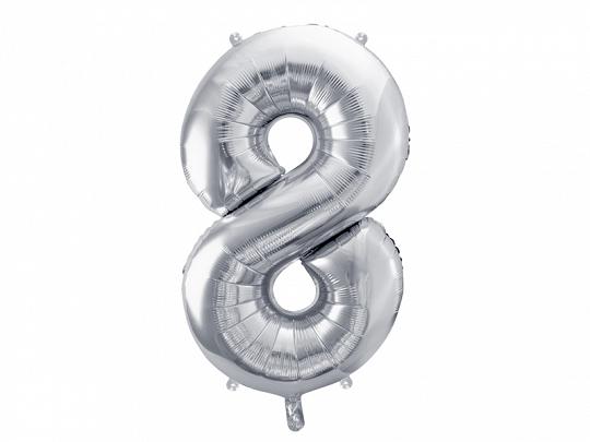 PartyDeco Fóliový balón narodeninové číslo 8 strieborný 86cm