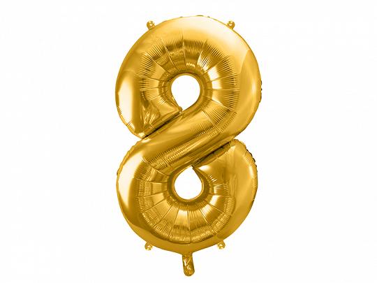 PartyDeco Fóliový balón narodeninové číslo 8 zlatý 86cm