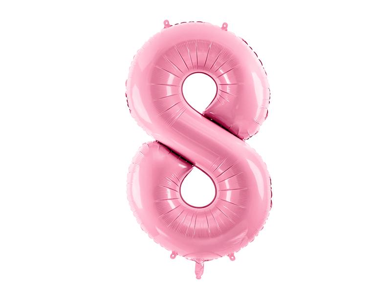 PartyDeco Fóliový balón narodeninové číslo 8 ružový 86cm