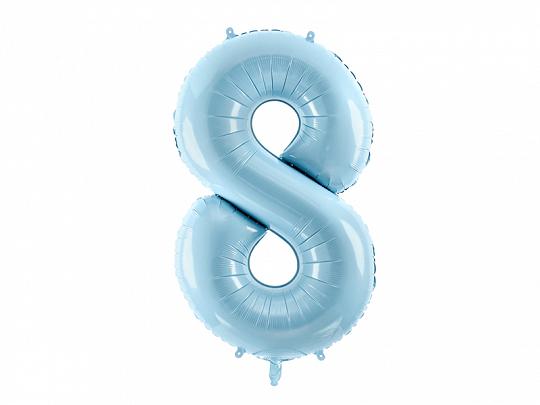 PartyDeco Fóliový balón narodeninové číslo 8 svetlomodrý