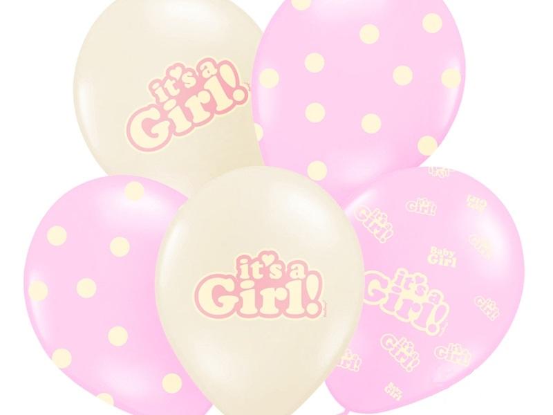 PartyDeco Balónik pastelový Je to dievča